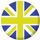 Great Britain Blue and Yellow Flag 25mm Flat Back